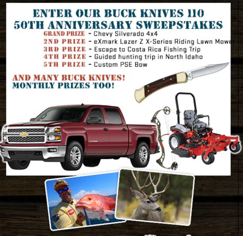 buck knives sweepstakes chevy silverado sweepstakes fishing autos post