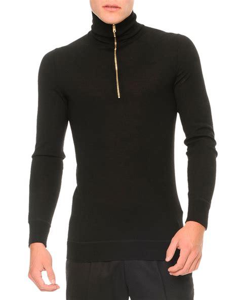 Sweater Zipper mcqueen zipper turtleneck sweater in black for lyst