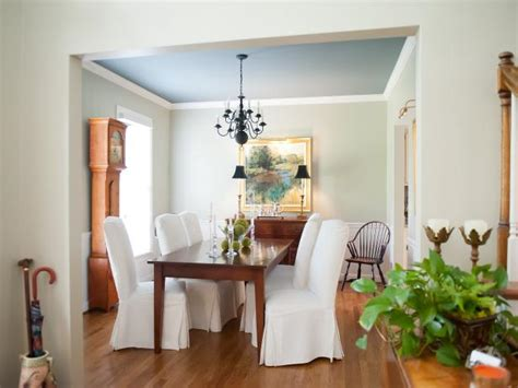 traditional green dining room   blue ceiling hgtv