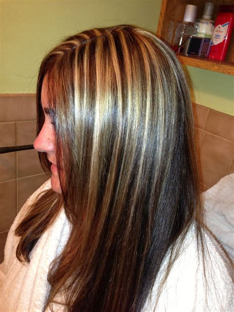 fine blonde highlights dark brown hair with thin blonde highlights hairs