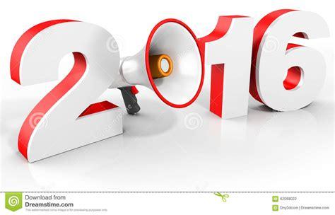 new year 2016 white background happy new year 2016 megaphone stock image cartoondealer