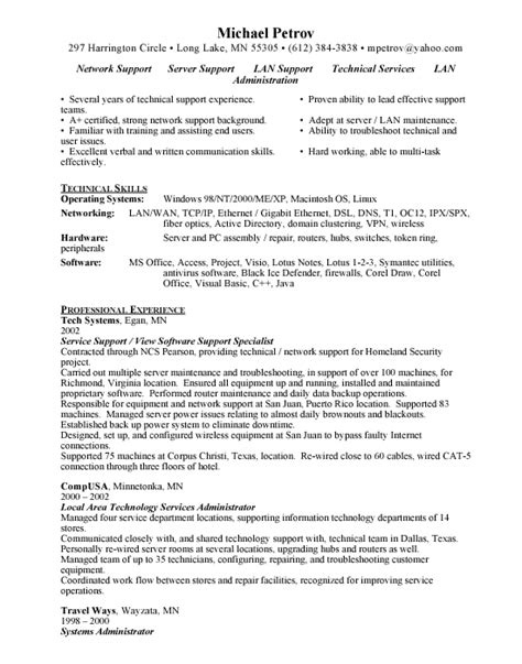 program specialist resume sle computer support computer support sle resume