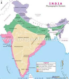 the map depicts different physiographic regions in india