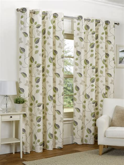 leaf curtains ready made curtains fully lined eyelet ring top all sizes