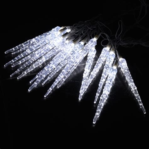 10 metre led icicle drops in white 25 frozen tubes