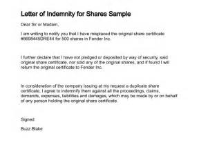 indemnity letter template letter of indemnity