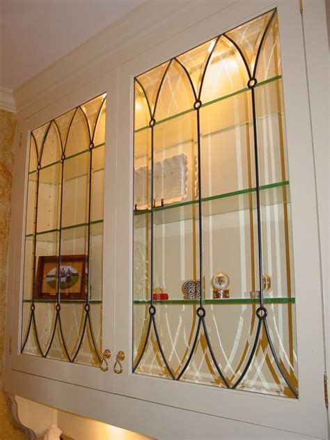 Cabinet Doors, Inserts, Beveled, Stained Glass, Etched
