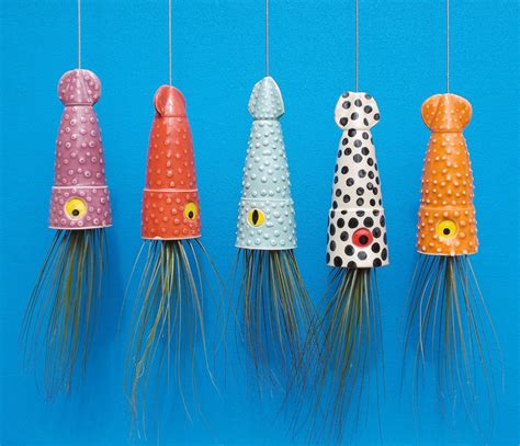 Air Plant Vases Ceramic Cephalopod And Jellyfish Air Plant Holders By