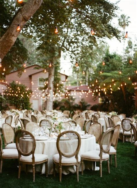 Country Rustic Outdoor Backyard Wedding Ideas With Lights Backyard Wedding Centerpiece Ideas