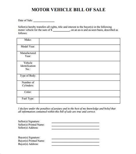 motor vehicle bill of sale template pdf sle car bill of sale car bill of sale form sle bill
