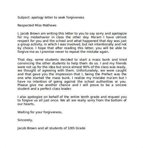 Apology Letter To For Skipping Class Sle Apology Letter To 8 Free Documents In Pdf Word