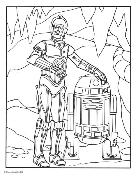r2 d2 and c 3po coloring page disney family
