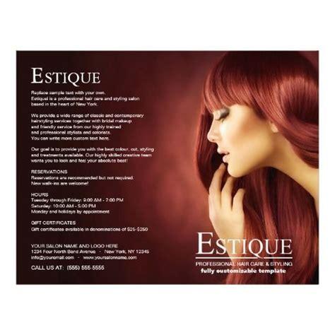 hair salon brochure templates hair salon stylist service menu brochure template 8 5 quot x
