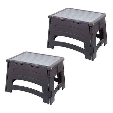 Folding 1 Step Stool by 2 Pack Plastic Folding 1 Step Stool Ladder 300 Lb Capacity