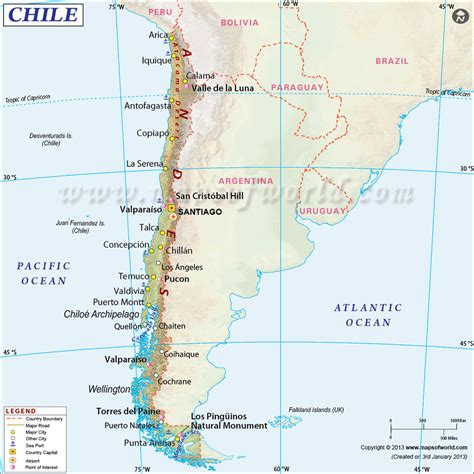 List Of All Us States by Chile Map Map Of Chile
