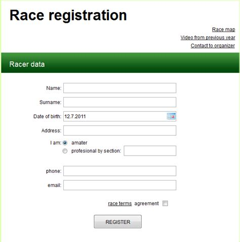 simple registration form in html