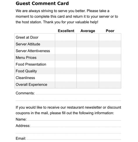 Hotel Comment Card Template Pdf by 5 Restaurant Comment Card Templates Formats Exles In