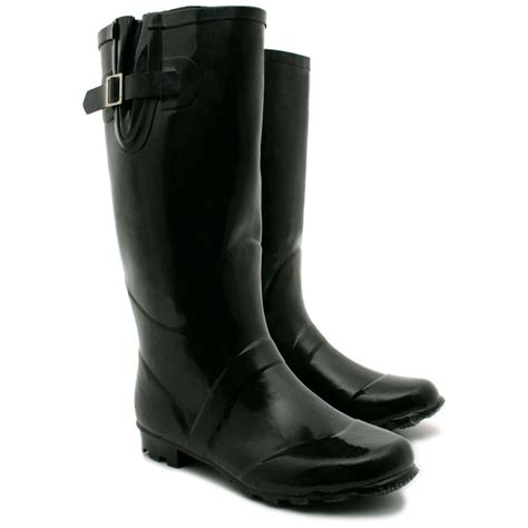new womens snow welly wellington flat wide calf boots