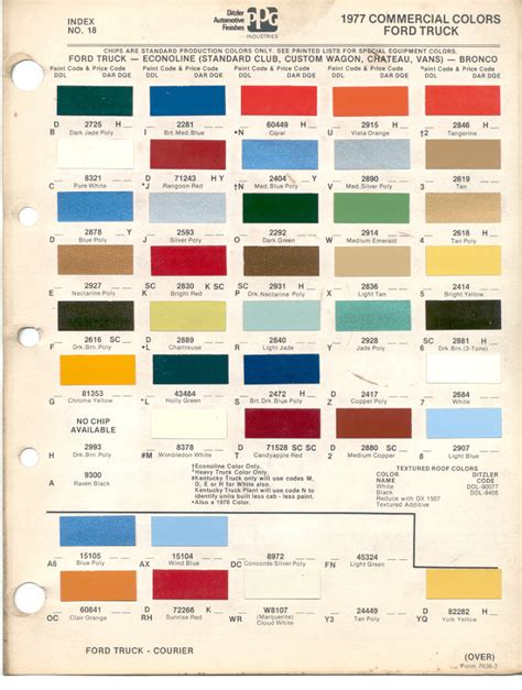 paint chips 1977 ford truck fleet commercial econoline club chateau wagon bronco courier
