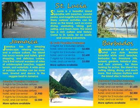 island brochure template caribbean island travel brochure project on behance