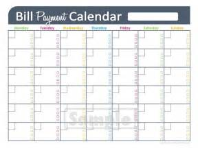 Bill Calendar Template by Printable Bill Paying Calendar Calendar Template 2016
