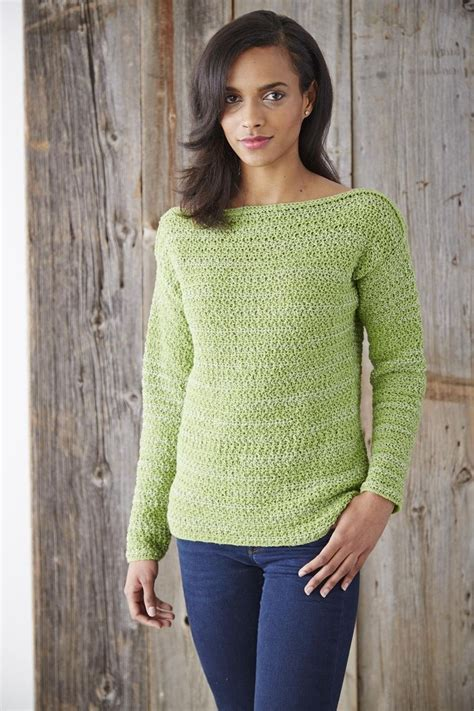 sweater patterns yarnspirations patons boat neck pullover free pattern crochet gleanings
