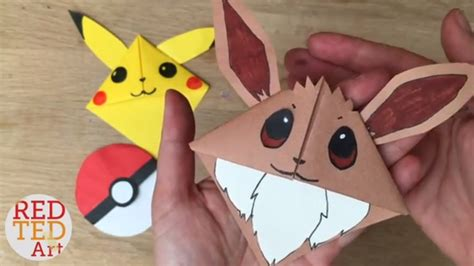 Origami Eevee - easy eevee diy bookmark corners origami