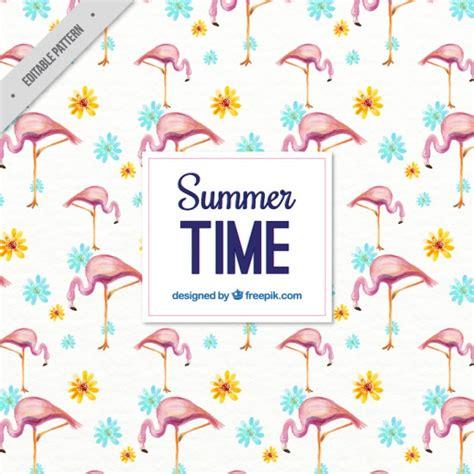 watercolor flamingos pattern vector free download watercolor summer pattern with flamingos and flowers