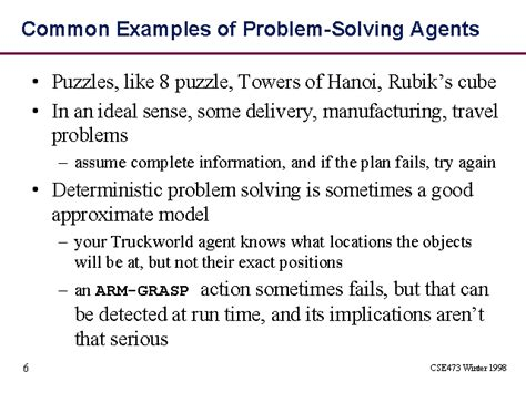 common exles of problem solving agents