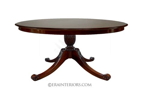 Single Table by Regency Carved Single Pedestal Dining Table
