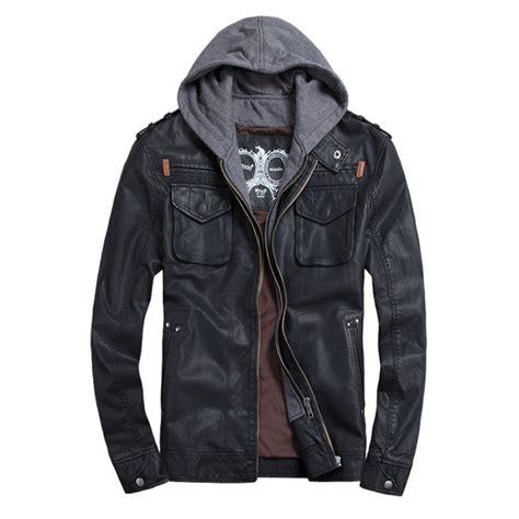 Hr Outwear Jaket Hoodie Since thooo brand mens pu leather jackets hoodie jacket for mens