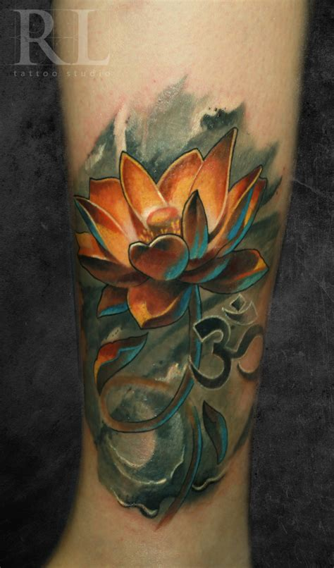 lotus tattoo with om symbol 25 lotus flower tattoo