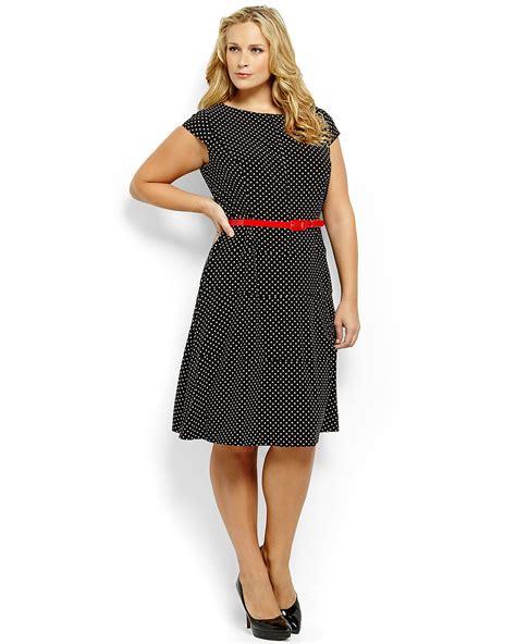Polky Dress Ori Gamis Polka klein plus size belted polka dot swing dress in black lyst