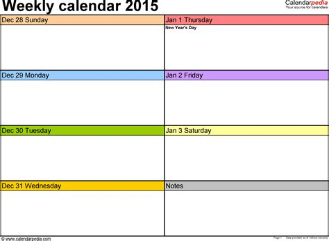 2015 Weekly Calendar Template weekly calendar 2015 for excel 5 free printable templates