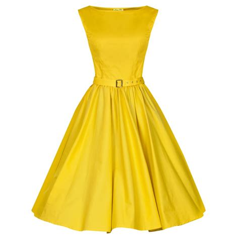 50 s swing dress blazing yellow audrey hepburn 50 s swing dress fashion