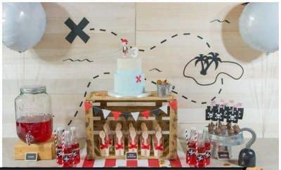 boy  pirate birthday party dessert table spaceships  laser beams