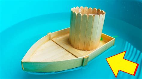 how to make a boat using craft sticks how to make a boat run by power of water with popsicle