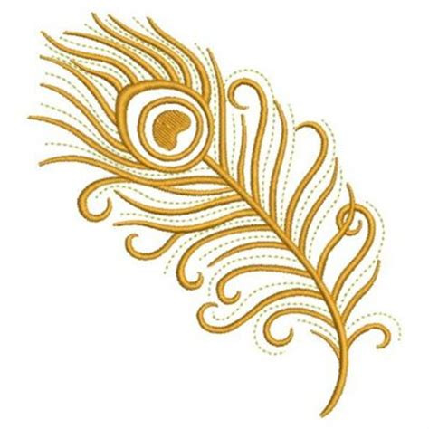Sweety Gold S36 Free 6 gold peacock feather embroidery design peacock feathers