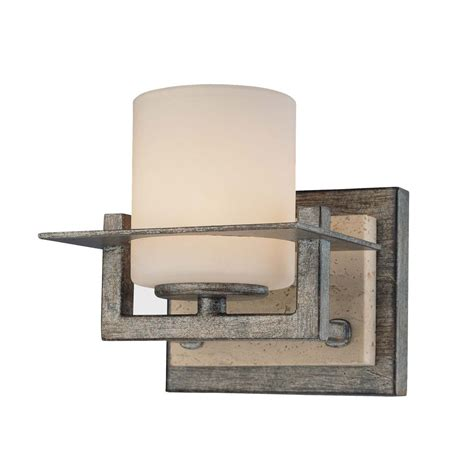 rustic bathroom sconces sconce wall light with white glass in aged patina iron
