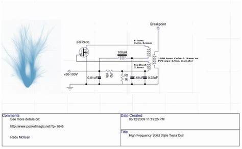 Tesla Coil Schematics Tesla Coil Schematics Magnifying Transmitter Elsavadorla