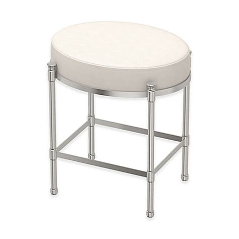 bed bath and beyond vanity stool buy oval vanity stool with white seat cushion in satin