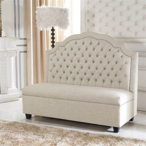 tufted banquette bench baxton studio madelyn beige linen modern banquette bench