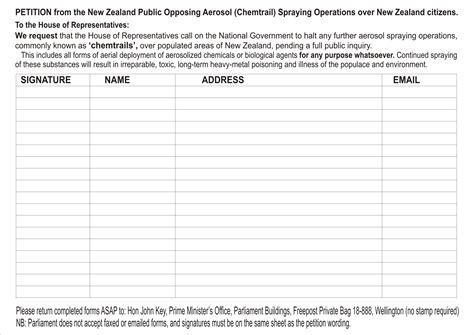 Petition Sle Signature Sheet Clear Skies Petition Forms For Your Own Region Northland New Zealand Chemtrails