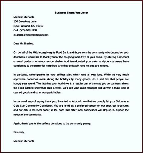 Thank You Letter For Update Business Thank You Letter Sle Word Doc Template Update234 Template Update234