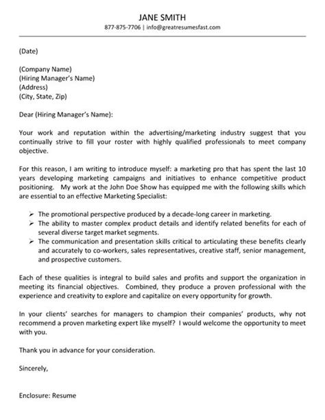 advertising letter advertising cover letter exle cover letter exle