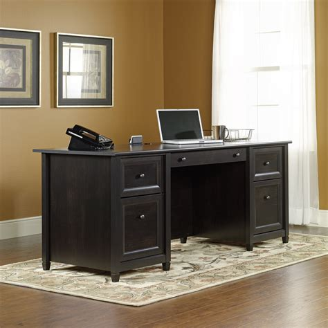 home office black desk edge water executive desk 409042 sauder