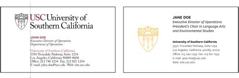 Usc Admissions Office Address by Business Cards Stationery Usc Identity Guidelines Usc