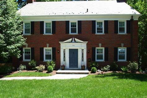 center hall colonial revival home inspired pinterest door colors for red brick colonial all brick center