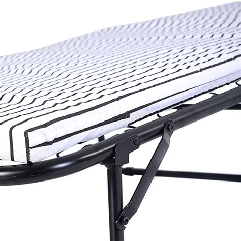 Folding Guest Bed With Steel Frame Folding Metal Guest Bed Steel Frame Mattress Cot Sleep Single New Ebay
