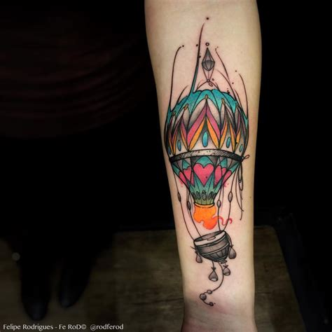 hot tattoos colorful air balloon forearm best